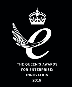 Queen's Award for Enterprise Innovation 2016 Emblem - white on black