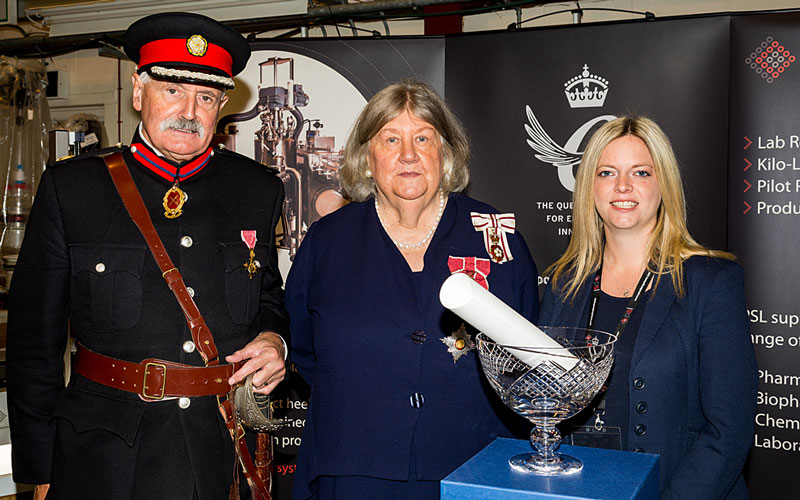 The High Sheriff, James Davies OBE and Lord-Lieutenant, Dame Lorna Muirhead DBE with PSL Managing Director, Amanda Gowans.